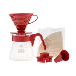 Hario V60 Pour Over Kit červený - dripper 02 + server 700ml + filtre