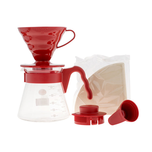 Hario V60 Pour Over Kit červený - dripper + server + filtre