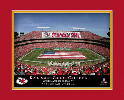 Kansas City Chiefs Personalized Stadium Print Framed - NFL Gift - NFL Item