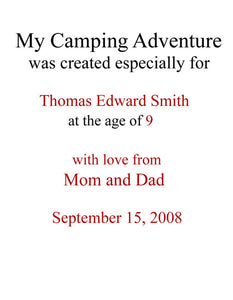 Personalized Children's Books, My Camping Adventure, A Personalized Storybook For Kids