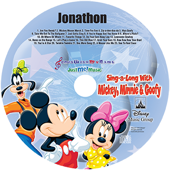 Mickey and Minnie Mouse & Goofy Personalized Music Cd, Mickey Mouse Cd - Connie's Personalized Music, Books & More