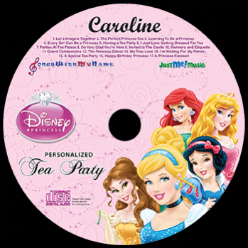 Disney Princesses Personalized Music Cd & Download, Disney Princesses Tea Party