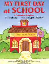 Personalized Children's Book, My First Day at School, Kid's Storybook
