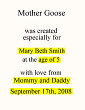 Personalized Children's Book, Mother Goose Personalized Book, Baby Shower Gift