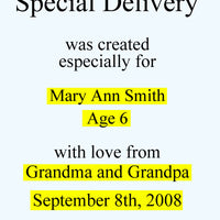 Personalized Children's Book, Special Delivery, Newborn Gift - Connie's Personalized Music, Books & More
