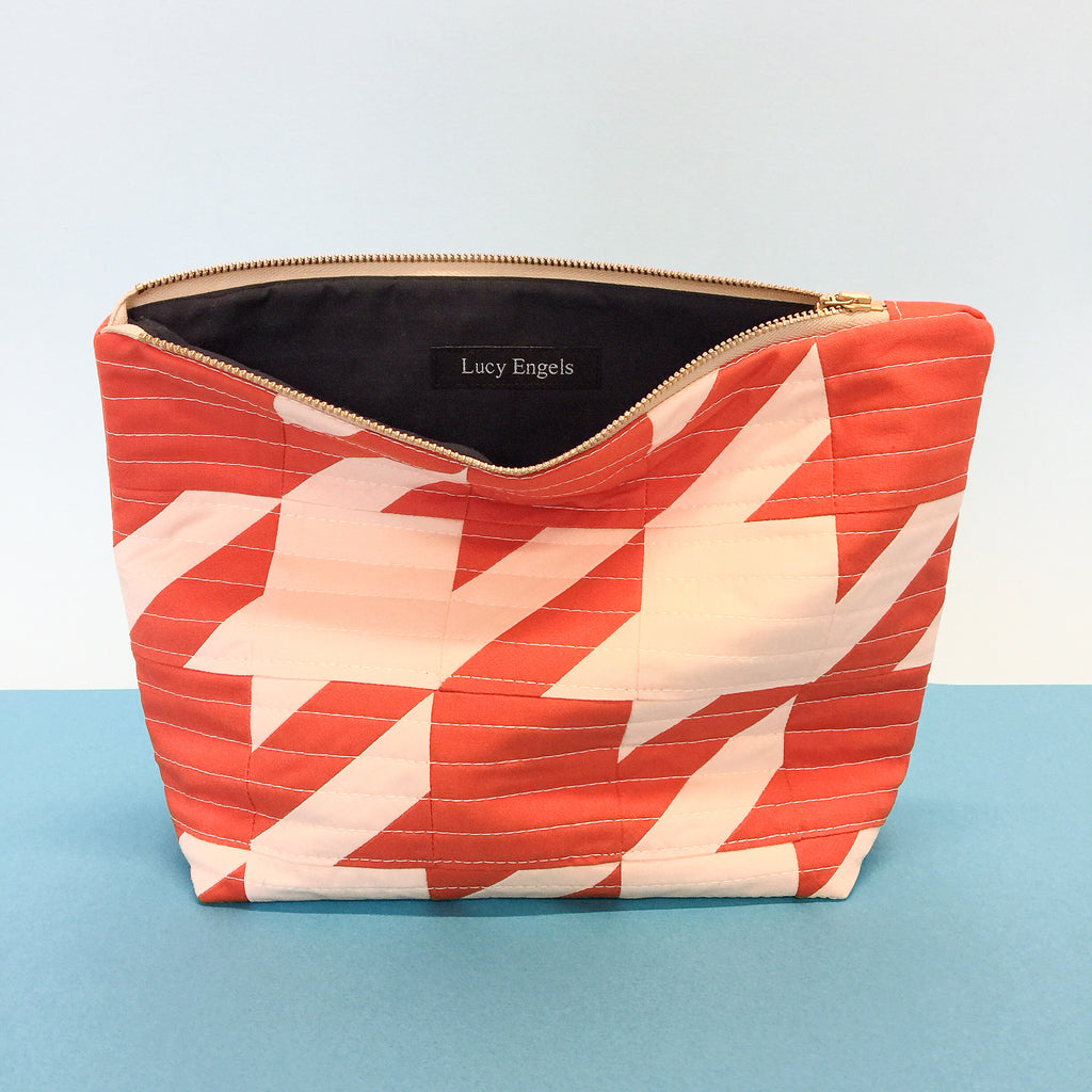 RITA - Makeup Bag - Red/ Pale Pink