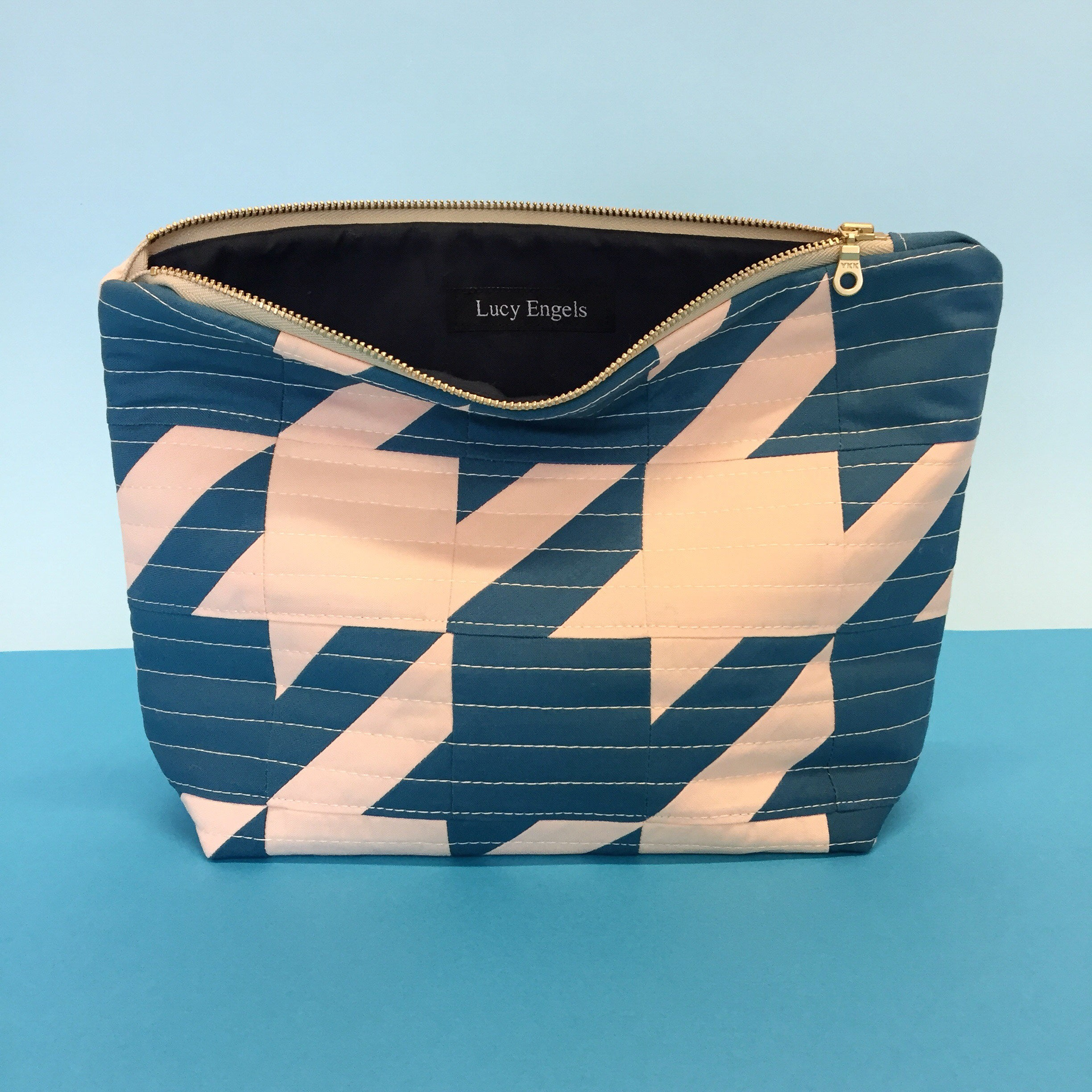 RITA - Makeup Bag - Pale Pink/ Blue