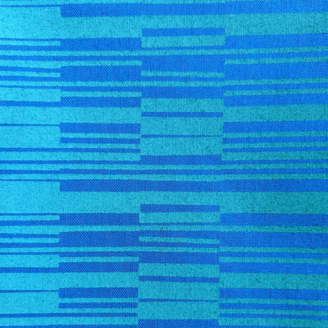 "'Bonus"" Lines Green & Blue Handprinted Fabric"