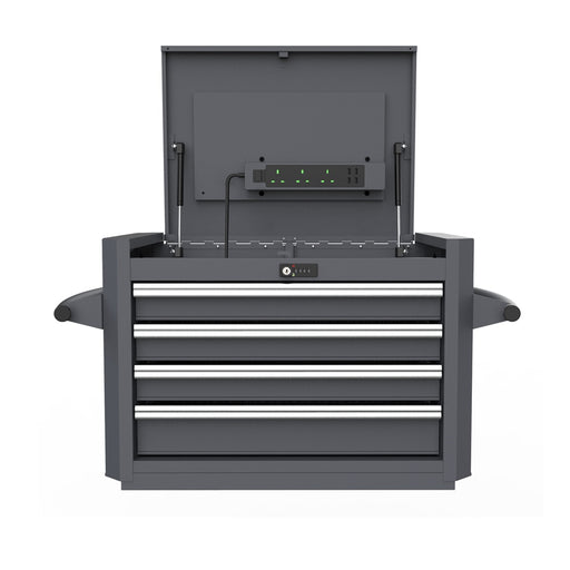 4-Drawer Digit Lock Top Chest with Power Plug and 204pcs Professional Tools