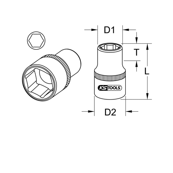 "3/4"" Dr. 6 Point Hexagonal Socket, Short"