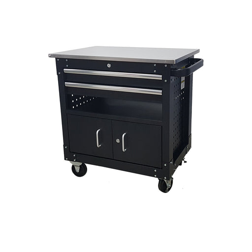 2-Drawer Cabinet with Lockable Compartment & Stainless Steel Worktop - SIMZ Werkz