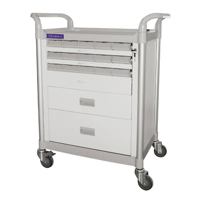 "Function-Cart Double-Face Medication Trolley 34"" (White) - SIMZ Werkz"