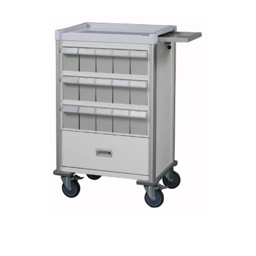 "Double-Face Medication Trolley, Individual 6"" Bin, 37"", White"