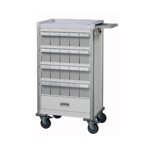 "Double-Face Medication Trolley, Individual 6"" Bin, 42"", White"
