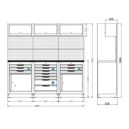 "Organized Storage Modules 26"" Set B"