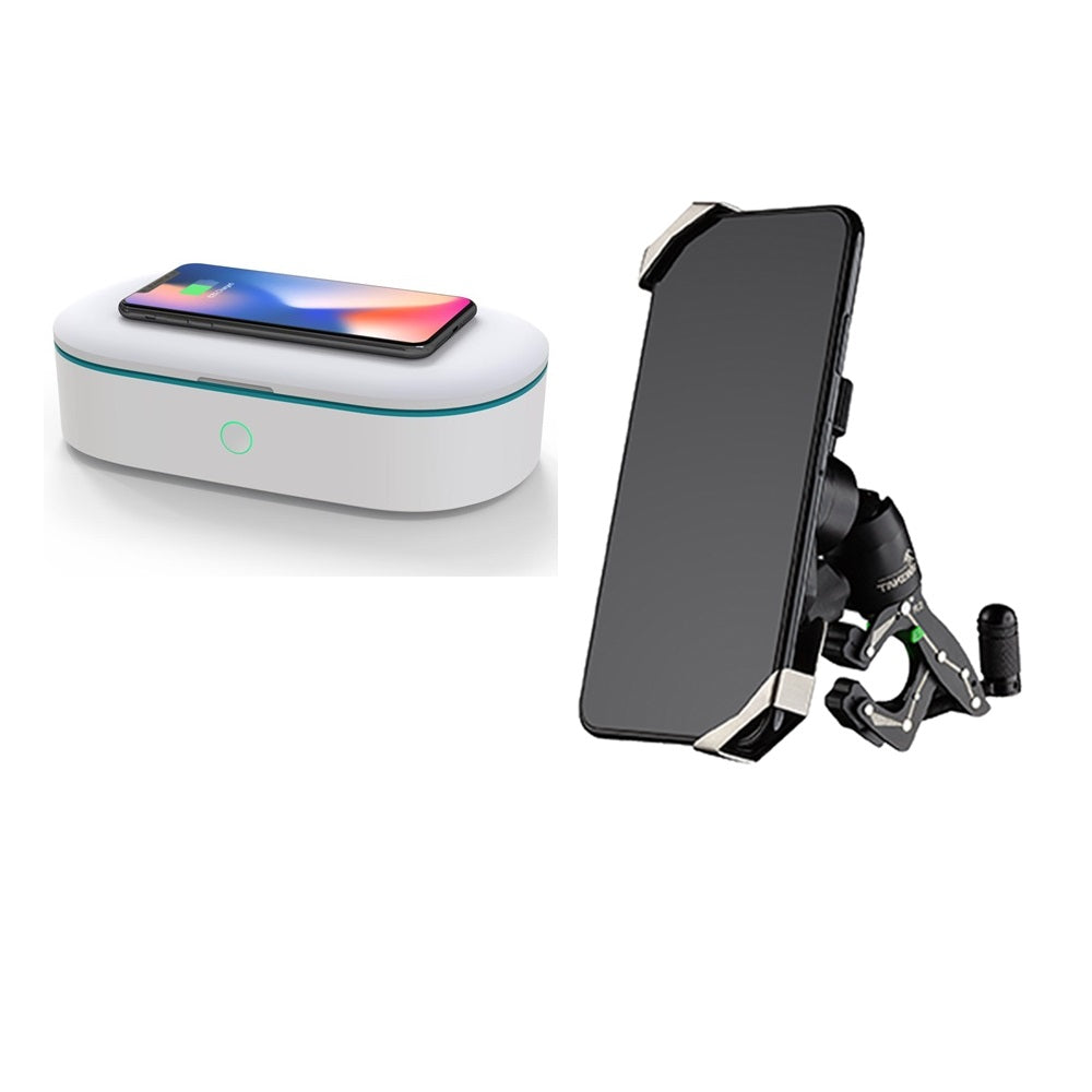 Bundle Set - Z Phone Holder With Clamp and UV Sterilizer Box With Wireless Charger