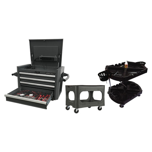 Bundle Set - 4-Drawer Digit Lock c/w 204pcs Professional Tools and 2-Tray Rack Plus 4-In-1 Garage Stool