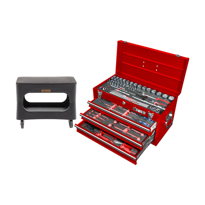 Bundle Set - 3 Drawer Carry Box with 94pcs Multi-Function Tool Set (mm) and 4-in-1 Garage Stool