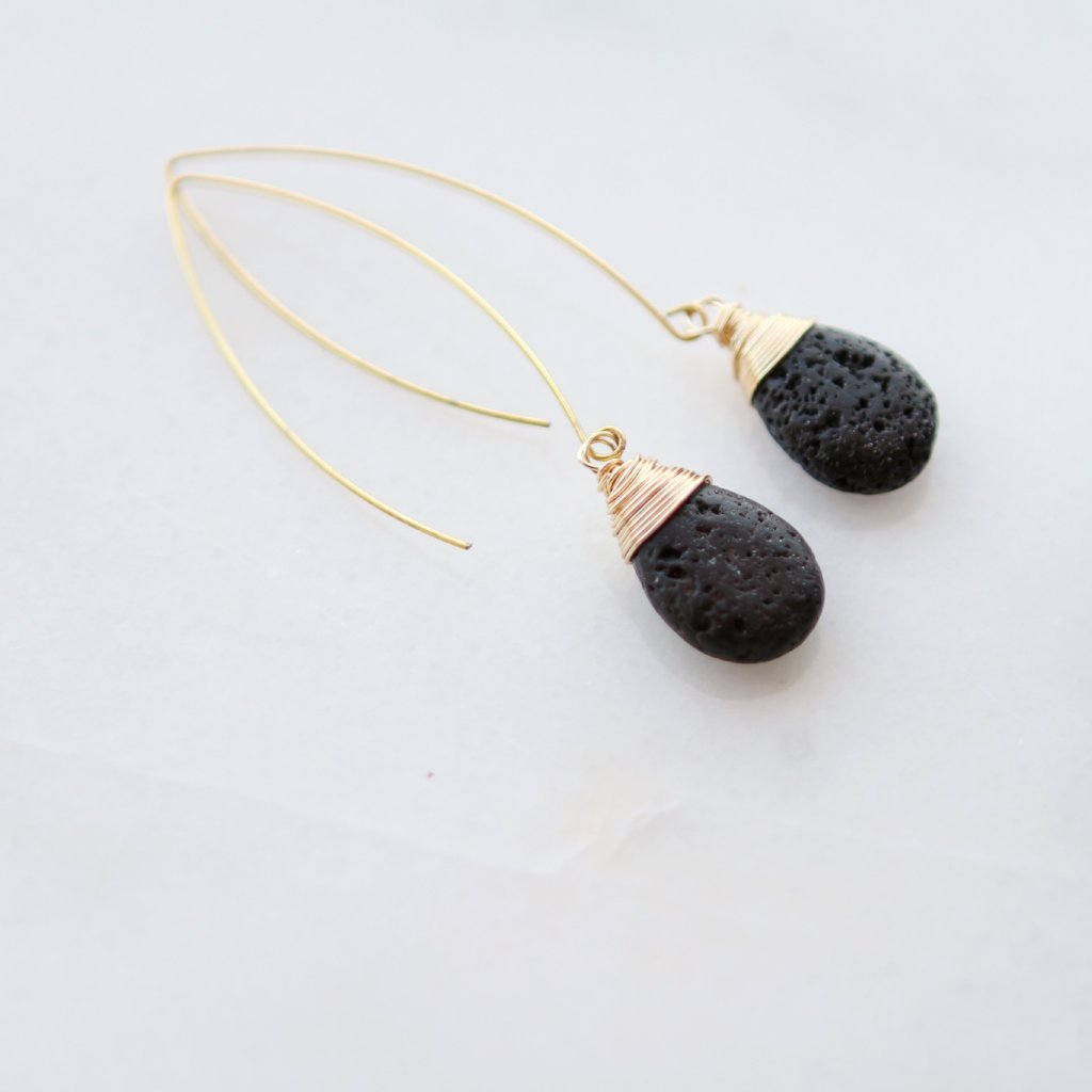 Wire Wrapped Teardrop Leaf Shape Earrings