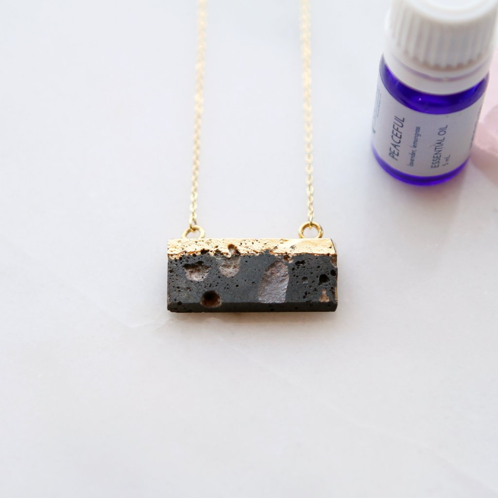 Dipped Lava Stone Slab Diffuser Pendant Necklace