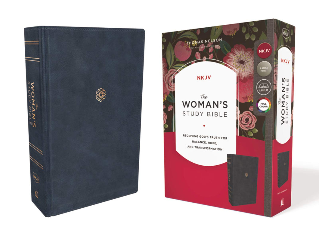 The NKJV, Woman's Study Bible, Leathersoft, Blue, Red Letter, Full-Color Edition: Receiving God's Truth for Balance, Hope, and Transformation