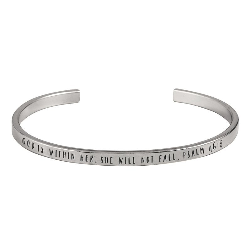God Is Within Her, She will not Fail- Cuff Bracelet
