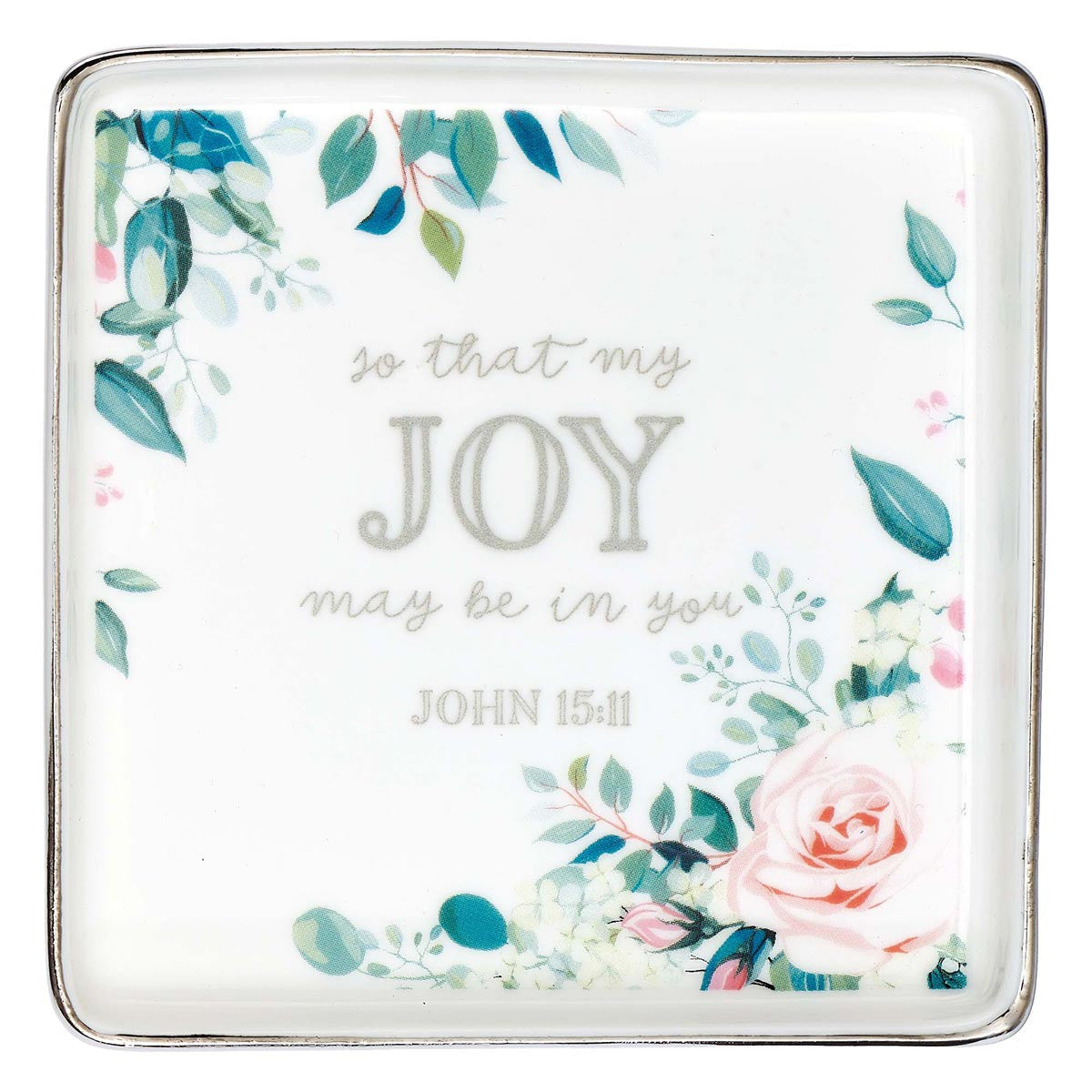 That My Joy May Be In You Floral Ceramic Trinket Tray