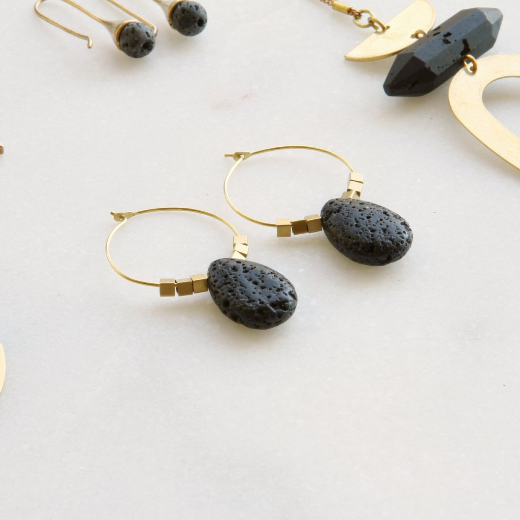 Teardrop Brass Hoop Earrings
