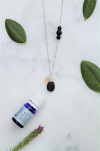"Lava Stone Tear Drop Diffuser Necklace with Rose Quartz Gemstone Accent Aromatherapy Necklace - ""Acacia Necklace"""