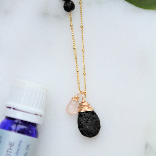 Lava Stone Tear Drop Diffuser Necklace with Rose Quartz Gemstone Accent Aromatherapy Necklace -