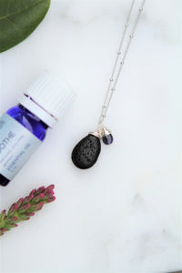 "Lava Stone Tear Drop Diffuser Necklace with a Blue Gemstone Accent Aromatherapy Necklace - ""Kalley Necklace"""