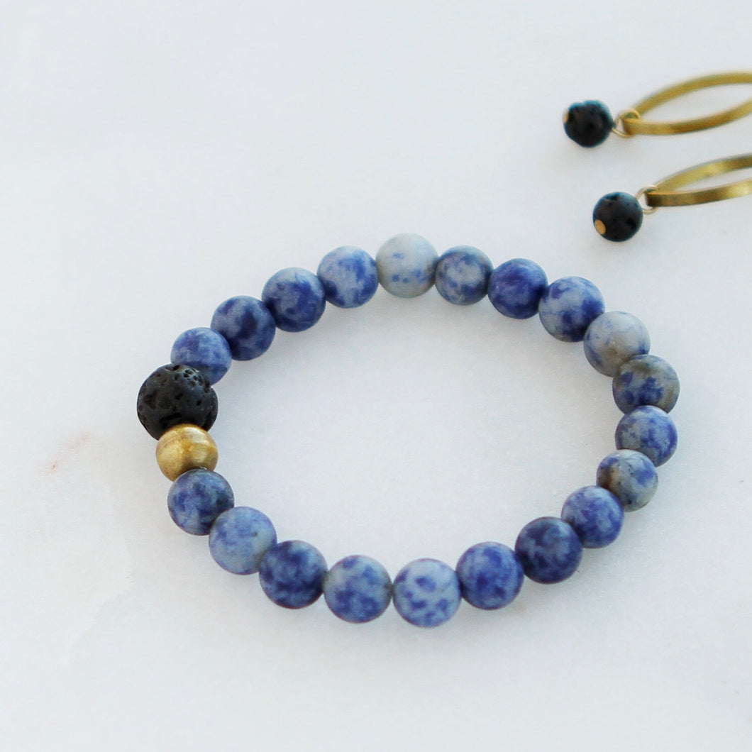 Matte Sodalite Essential Oil Stacking Bracelet