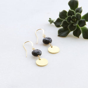 Lava Disc Gold Coin Earrings