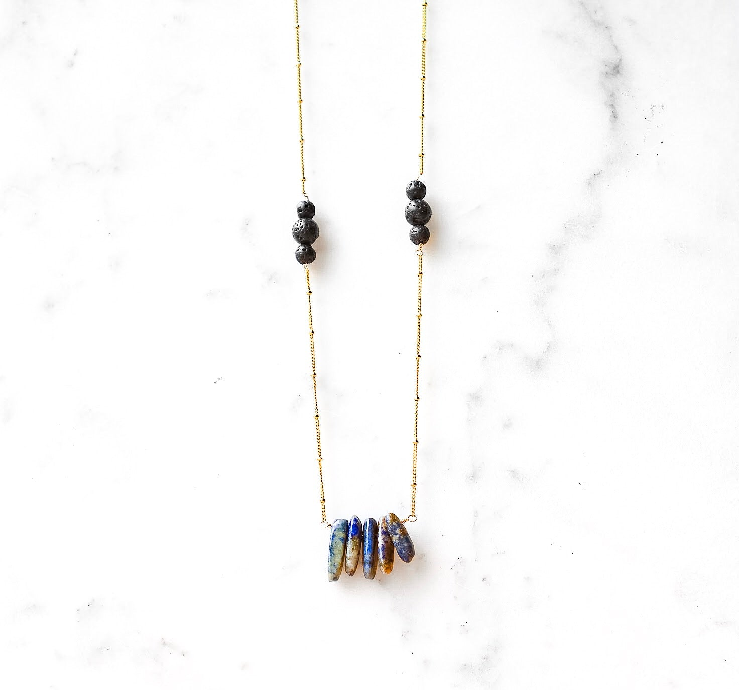 Lapiz Lazuli and Volcanic Lava Stone Diffuser Necklace