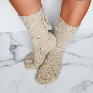 Briana Fair Trade Wool Knit Socks - Pebble