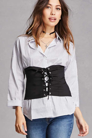 Full Sleeve Collar Shirt with Round Belt