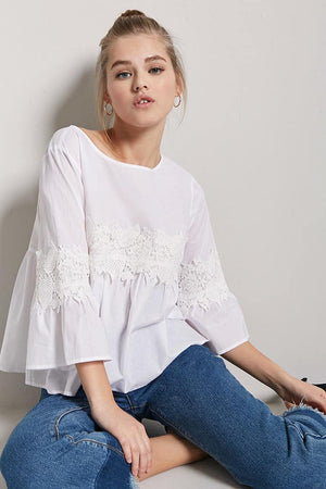 Front Lace Patched Top