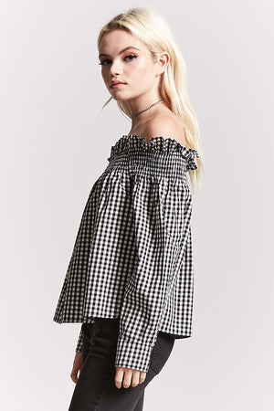 Check Print Off Shoulder Top