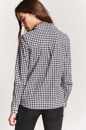 Check Print Shoulder Patched Top