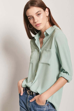 Plain Full Sleeve Shirt- Green