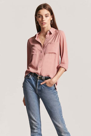 Plain Full Sleeve Shirt- Pink