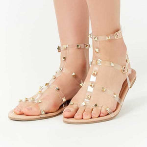 Invisible Strap Stones Engraved Sandal- M014