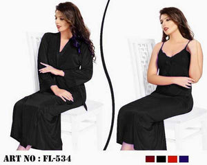 2 Pcs Full Nighty- N15- 4 Colors