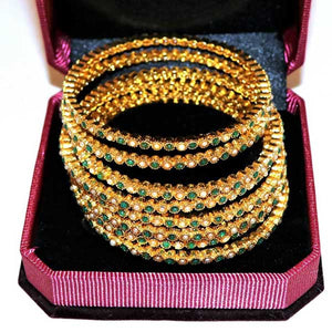 8 Pcs Gold Plated Bangal with Engraved Multicolor Stones- 003