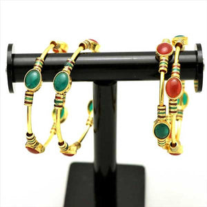 4 Pcs Antique Gold Plated Kara Set with Engraved Multicolor Stones- 001