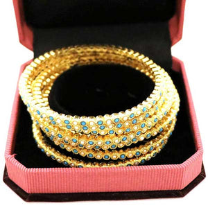 8 Pcs Gold Plated Bangal with Engraved Multicolor Stones- 001