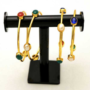 4 Pcs Antique Gold Plated Kara Set with Engraved Multicolor Stones- 002