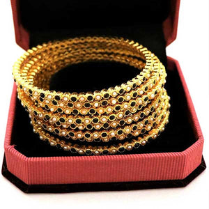 8 Pcs Gold Plated Bangal with Engraved Multicolor Stones- 002