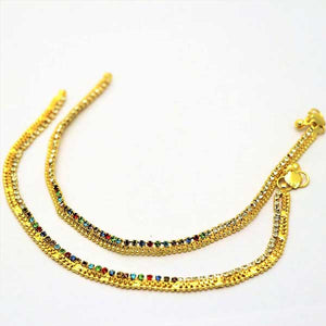 Royal 2 Pcs Payals Gold Plated with Multicolor Stones