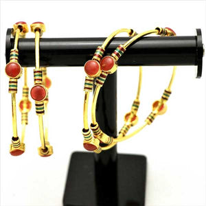 4 Pcs Antique Gold Plated Kara Set with Engraved Stones- 002